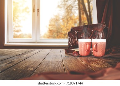 autumn table of free space for your decoration