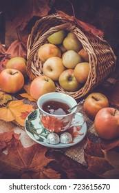 Autumn tea with apples
