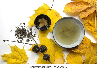 Autumn tea ceremony still life cup of tea closup on white background