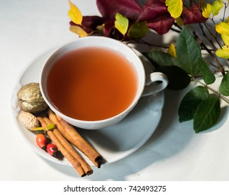 autumn tea drink in white elegance cup with wafers cinnamon and autumn leaves against white background