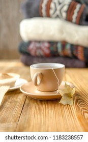 Autumn tea in warm colors, toned warm colors, sunlight