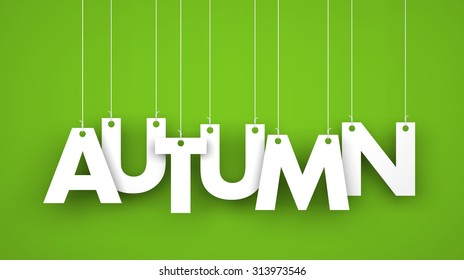 Autumn - text hanging on the strings