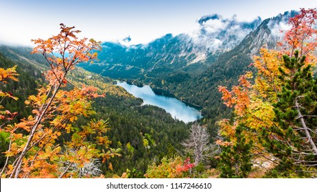 """Autumn time at """"Agiues Tortes"""" National Park, Spanish Pyrenees, Spain."""