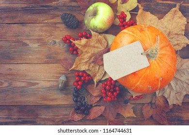 autumn time background, pumpkin, empty paper tag, dry leaves, berries, old bag on wooden table, top view