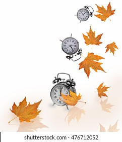 autumn time is now,  falling leaves and clocks