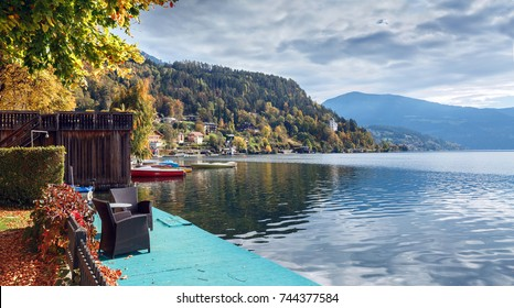 Autumn in the town of Millstatt am See, situated on the shore of the Millstatt lake.  Gurktal Alps, state of Carinthia, Austria