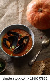 Autumn tradition soup with seafood