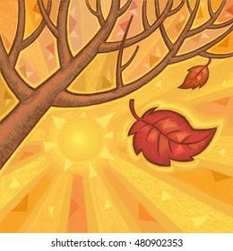 Autumn Tree Leaves Falling - Decorative Abstract Illustration
