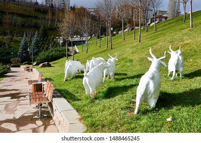 Autumn trees, green wooded park and white goats