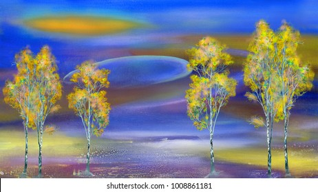 Autumn trees on surreal night background