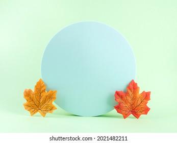 Arrière-plan tendance à l'automne avec feuilles d'automne. Scène géométrique verte de pêche pastel peach orange avec podiums circulaires, modèle fictif