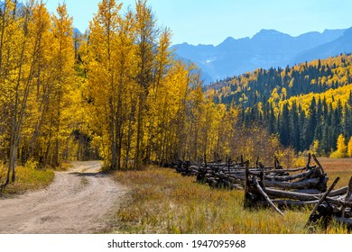 Autumn Valley - A backcountry road winding in a colorful valley at base of rugged Sneffels Range on a sunny Autumn day. Uncompahgre National Forest, Ridgway-Telluride, Colorado, USA.