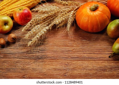Autumn vegetable and fruit wood background. toning. selective focus