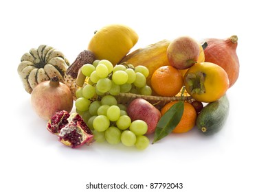 Autumn vegetable and fruits isolated on white