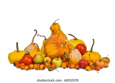 autumn vegetables on a white background