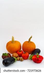 Autumn vegetables on white background