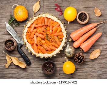 Autumn vegetarian pie with carrots and pumpkin.Vegan food