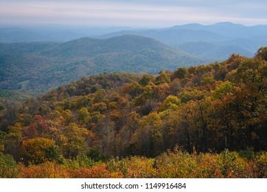 Autumn view of Blue Ridge mountain ridges from Skyline Drive in Shenandoah National Park, Virginia