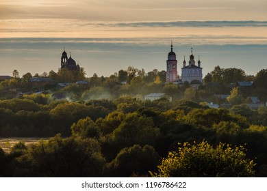 Autumn view of Borovsk at sunset, Kaluga region, Russia.