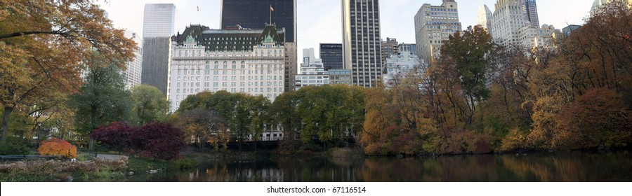 Autumn with a view of Central Park South in the distance and the Plaza Hotel