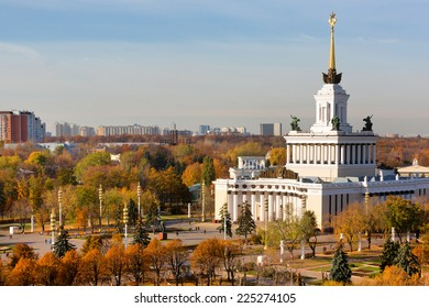 Autumn view of Central Pavilion and Central Avenue at the Exhibition of Achievements of the People's Economy in Moscow, Russia
