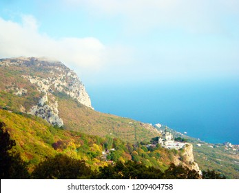 The autumn view of The Crimea Mountains and the Black sea near Foros city in Crimea, Russia