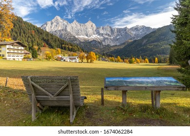 autumn view of Dachstein massif in Austria
