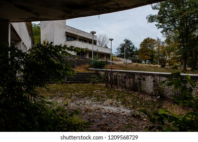 An autumn view of a derelict and abandoned Poconos Mountain resort in Pennsylvania.