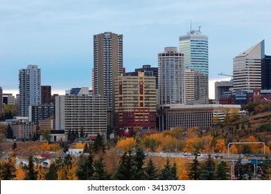 Autumn view of the downtown in dusk, edmonton, alberta, canada