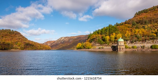 Autumn  view of Elan Valley Reservoir, Wales, UK