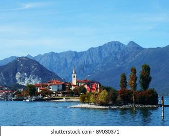 Autumn view of the Fishermen Island, Lake Maggiore, Piedmont, Italy