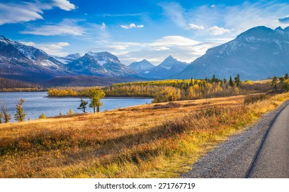 autumn view of Going to the Sun Road in Glacier National Park, Montana, United States