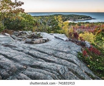 Autumn View of Great Head from Granite Overlook, Acadia National Park