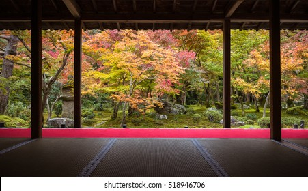 Autumn view of Japanese garden at Enkoji temple in Kyoto, Japan. Here is the Rinzai Zen Sect and very famous during fall colors in Autumn.