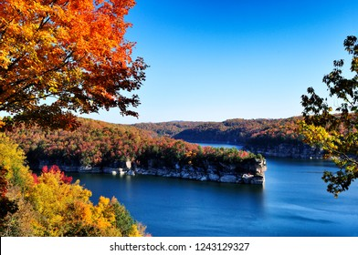 Autumn view of Long Point, Summersville Lake, Nicholas County,  West Virginia, USA,  West Virginia's largest lake
