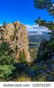 Autumn view from mountain ridge