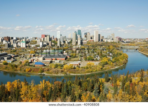 Autumn view of the north saskatchewan river valley and downtown in city edmonton, alberta, canada