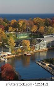 Autumn view of Oakville harbor
