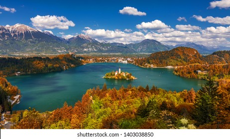Autumn view on Bled Lake with Pilgrimage Church of the Assumption of Maria. Top view Bled, Slovenia, Europe. Autumn Lake Bled. Lake Bled with small  Island during autumn. Slovenia.