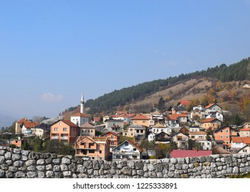 Autumn view on buildings of Travnik from ancient fortress,Bosnia and Herzegovina