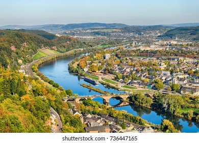 Autumn view on city of Trier and Mosel river from above