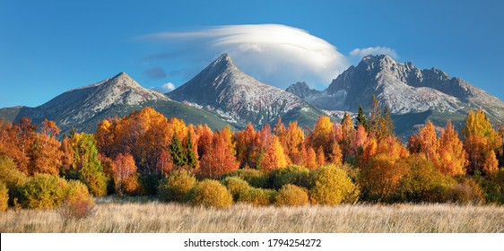 Autumn view on High Tatras mountains national park in Slovakia