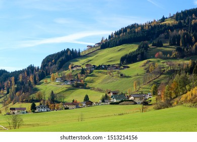 Autumn view with picturesque austrian alpine village in the mountains