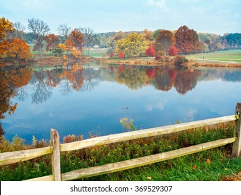 An Autumn view of the pond in Holmdel Park in Monmouth County New Jersey.