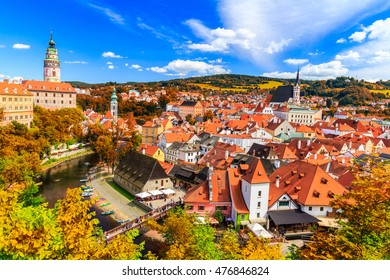 Autumn view with red foliage on the Cesky Krumlov, Czech Republic. UNESCO World Heritage Site.