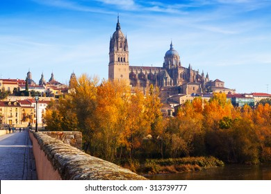 Autumn view of Salamanca with Tormes River and Cathedral. Castile and Leon, Spain