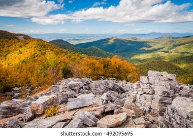 Autumn view of the Shenandoah Valley and Blue Ridge Mountains from the boulder-covered summit of Blackrock, in Shenandoah National Park, VA.