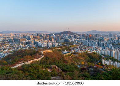 Autumn and viewpoint of Seoul downtown, in Seoul, South Korea.Viewpoint from Inwangsan mountain.