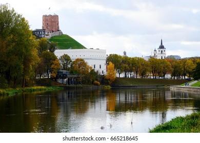 Autumn in Vilnius city - Old castle on Gediminas hill on October 24, 2015, Vilnius, Lithuania.
