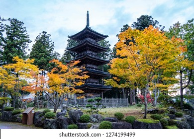 Autumn vivid color and Japanese style five-story pagoda in Sado, Japan